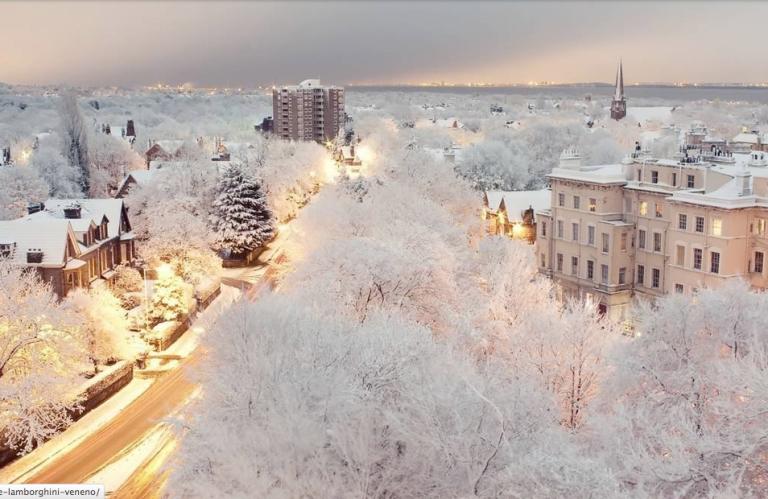 Snowy Liverpool, England